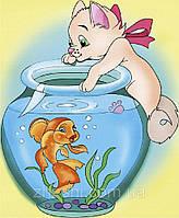 """Роспись по холсту для детей. """"Котик с аквариумом"""" 18х24см арт. 7119/1"""
