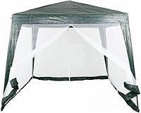 Павильон шатер тент с москитной сеткой и молниями Underprice 300 x 300 х 250 см. Зеленый