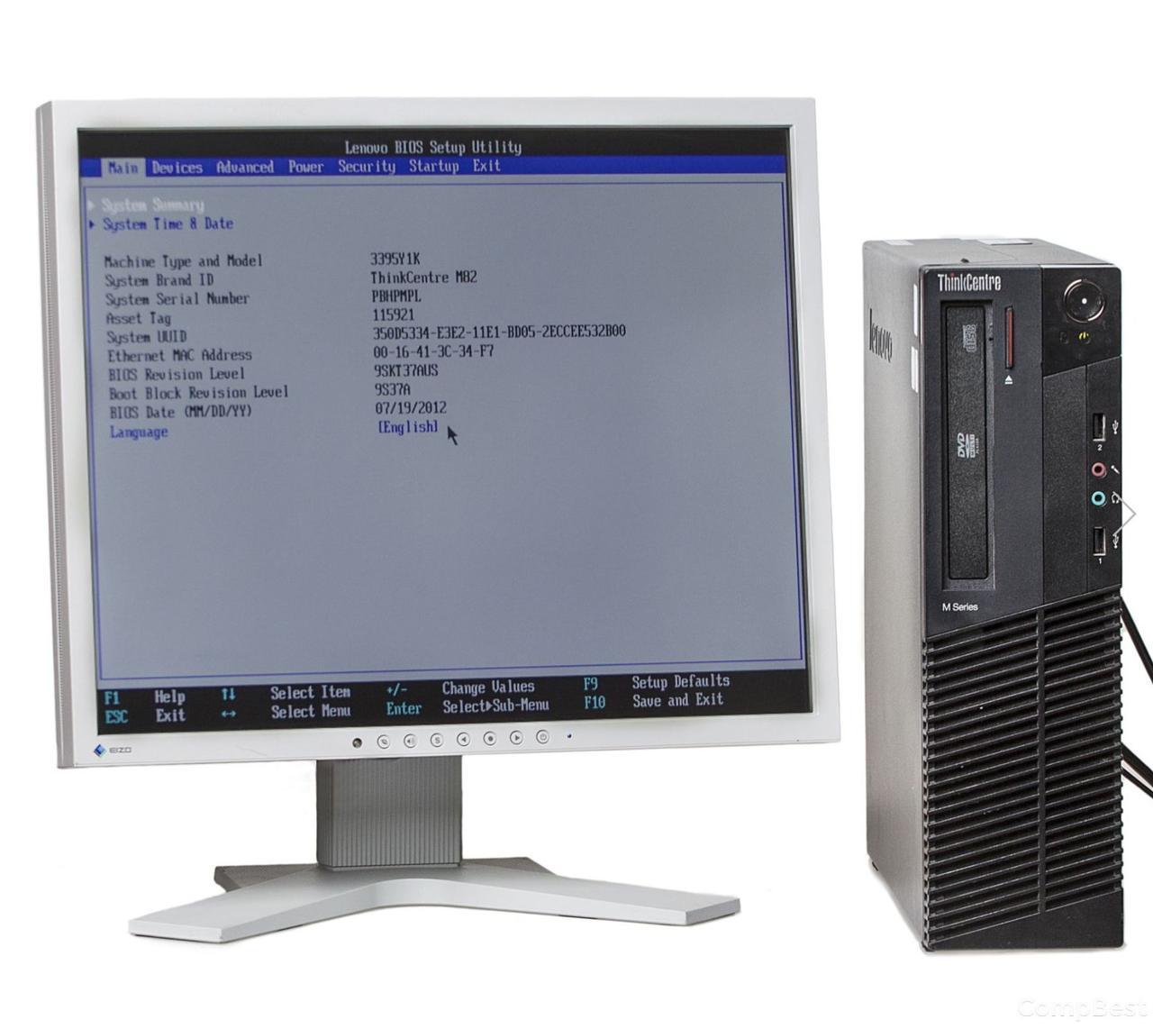 "Комплект: Lenovo m82 Desktop / Intel Core i3-2120 (2(4)ядра по 3.30GHz) / 8 GB DDR3 / 250 GB HDD + Монитор Eizo FlexScan S1921 / 19"" / 1280x1024 S-PVA"