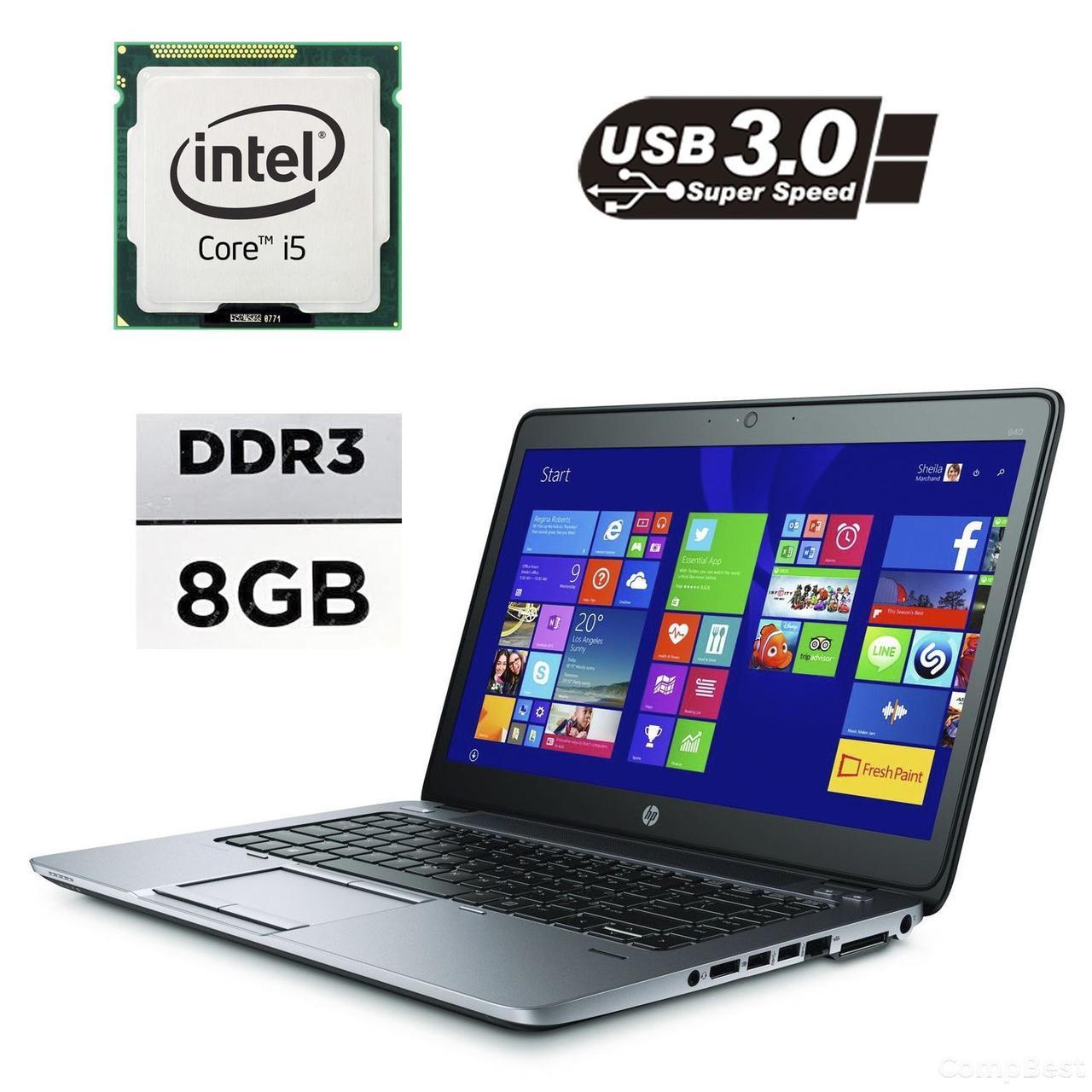 """HP EliteBook 840 G2 / 14"""" / Intel® Core™ i5-5200U (2 (4) ядра по 2.2 - 2.7GHz / 8GB DDR3 / 120GB SSD / Intel HD Graphics 5500 / VGA, DP, USB 3.0,"""
