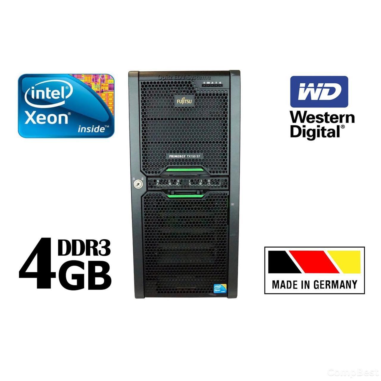 Сервер Fujitsu Primergy TX150 S7 / Intel Xeon X3430 / 4 GB DDR3 / 250 GB HDD / NAS хранилище