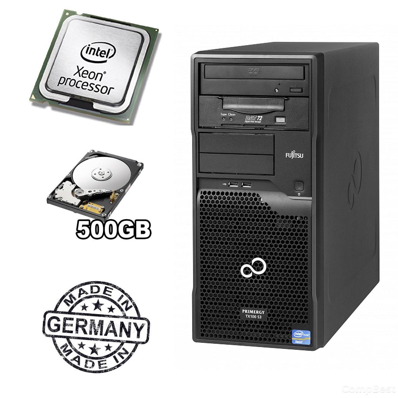 Сервер FUJITSU PRIMERGY TX100 S3p Tower Server / Intel® Xeon® E3-1220 (4 ядра по 3,1 - 3,4 GHz) / 8 GB DDR3 / 500 GB HDD