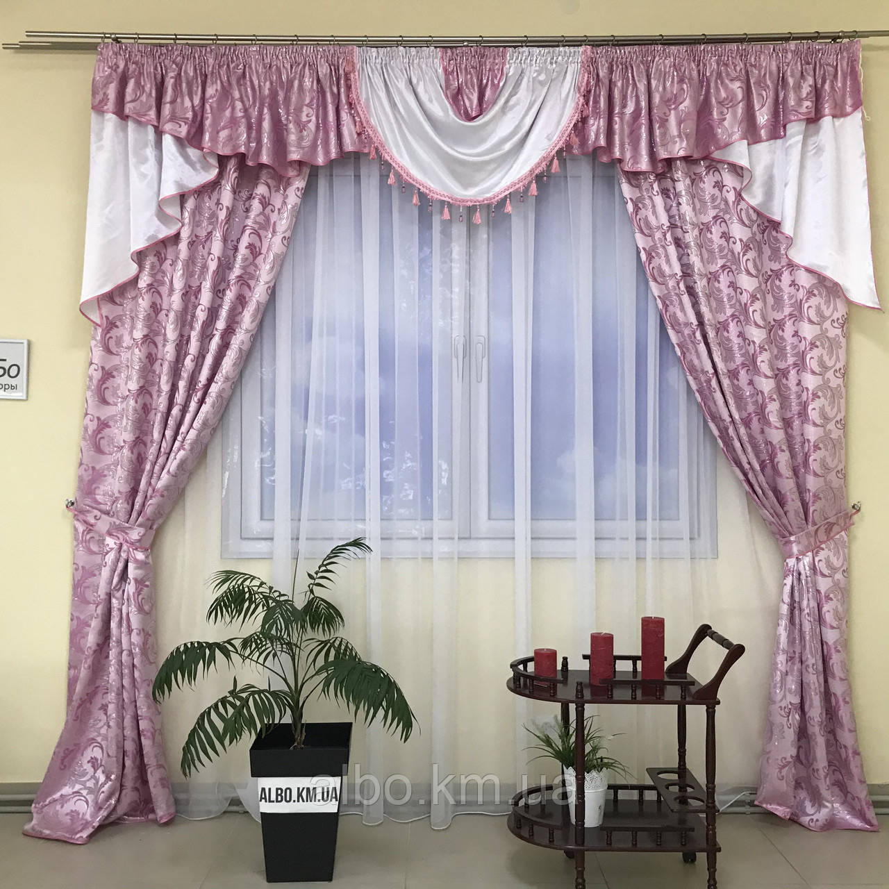 Комплект штор в спальню ALBO 150х270cm (2 шт) и ламбрекен розовый (LS-215-13)
