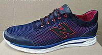 Мужские синие кроссовки летние сетка с кожей New Balance  туфли большого размера 46,47,48,49, фото 1