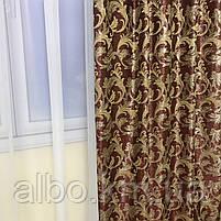 Комплект шторы в спальню ALBO 150х270cm (2 шт) и ламбрекен бордовый (LS-215-20), фото 6
