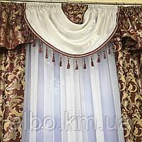 Комплект шторы в спальню ALBO 150х270cm (2 шт) и ламбрекен бордовый (LS-215-20), фото 7