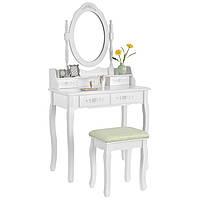Туалетный столик БОМБА белый с зеркалом и стульчиком Трюмо в спальню
