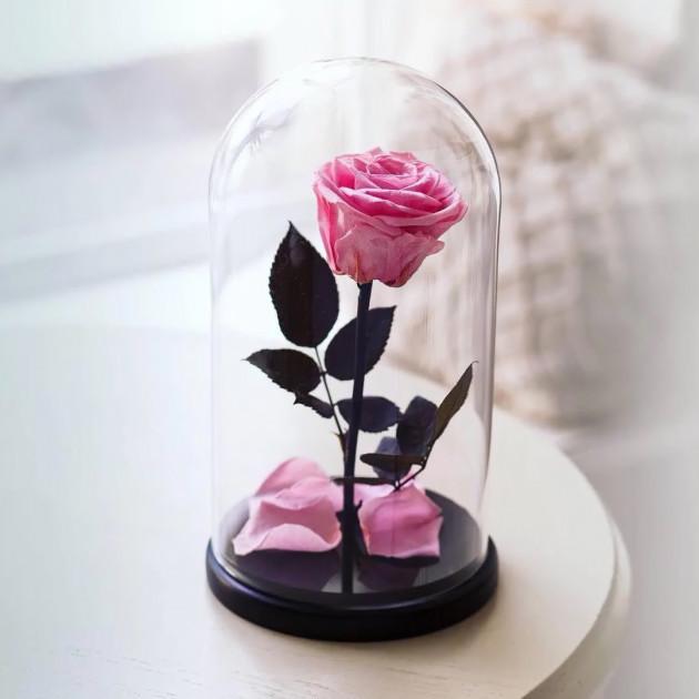 Роза в колбе с LED подсветкой Маленькая - Розовая