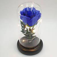 Роза в колбе с LED подсветкой 16 см синяя