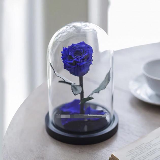 Роза в колбе с LED подсветкой Маленькая - Синяя