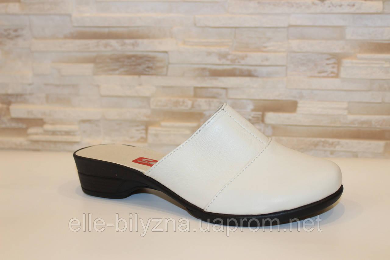Шлепанцы сабо женские бежевые натуральная кожа на небольшом каблуке Б250