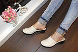 Шлепанцы сабо женские бежевые натуральная кожа на небольшом каблуке Б250, фото 6