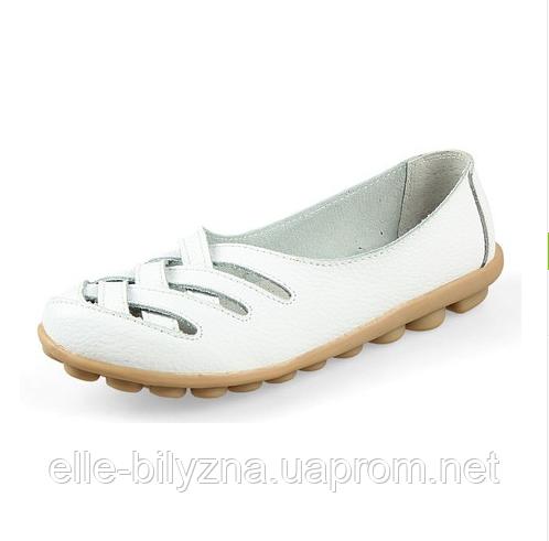 Туфли балетки белые женские натуральная кожа Б777