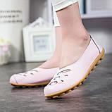 Туфли балетки белые женские натуральная кожа Б777, фото 9