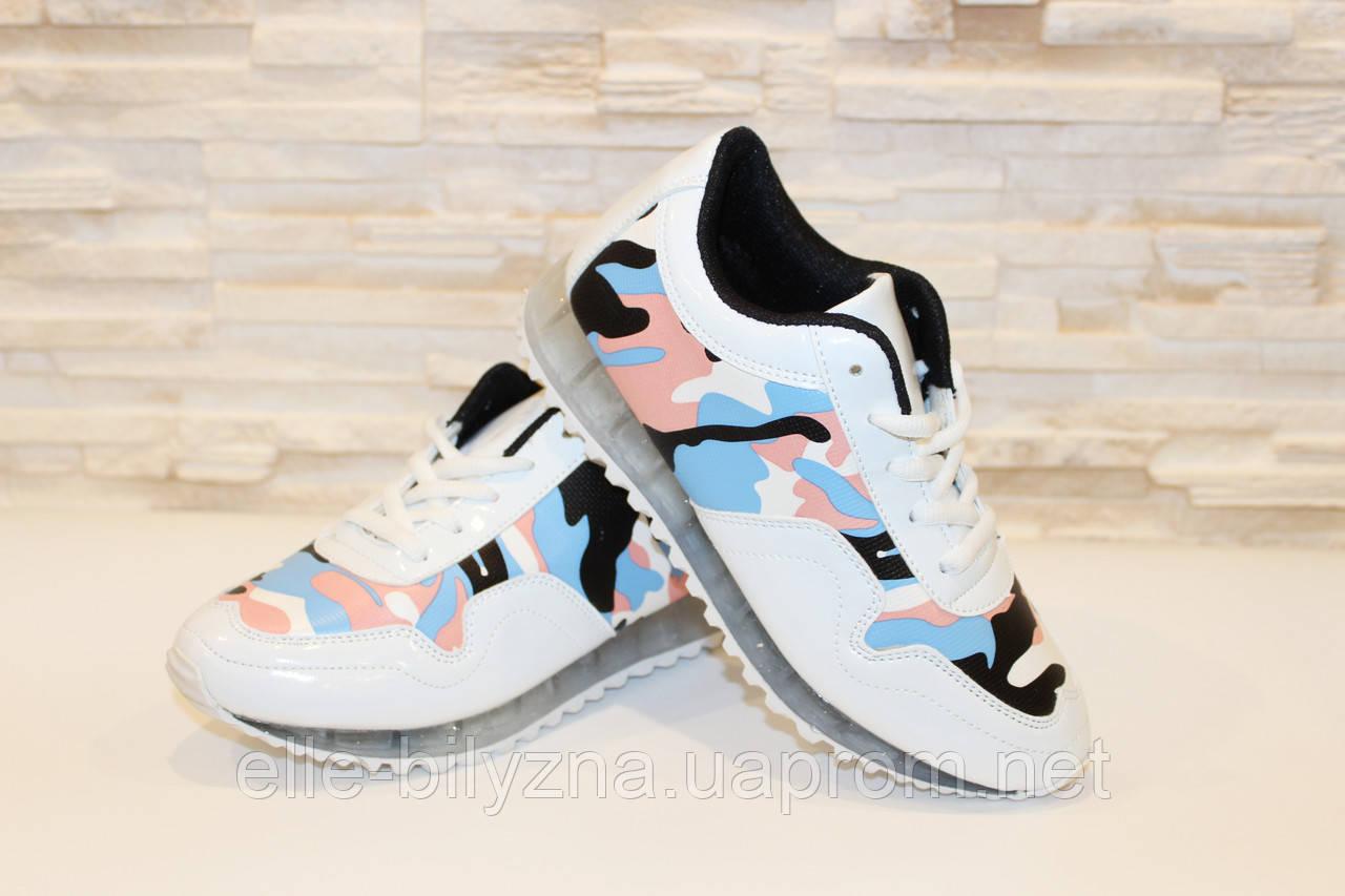 Кроссовки цветные белые Т474