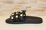 Шлепанцы женские черные с цветами Б265, фото 2