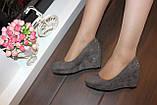 Туфли женские серые замшевые на танкетке Т061, фото 3