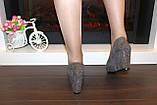 Туфли женские серые замшевые на танкетке Т061, фото 6