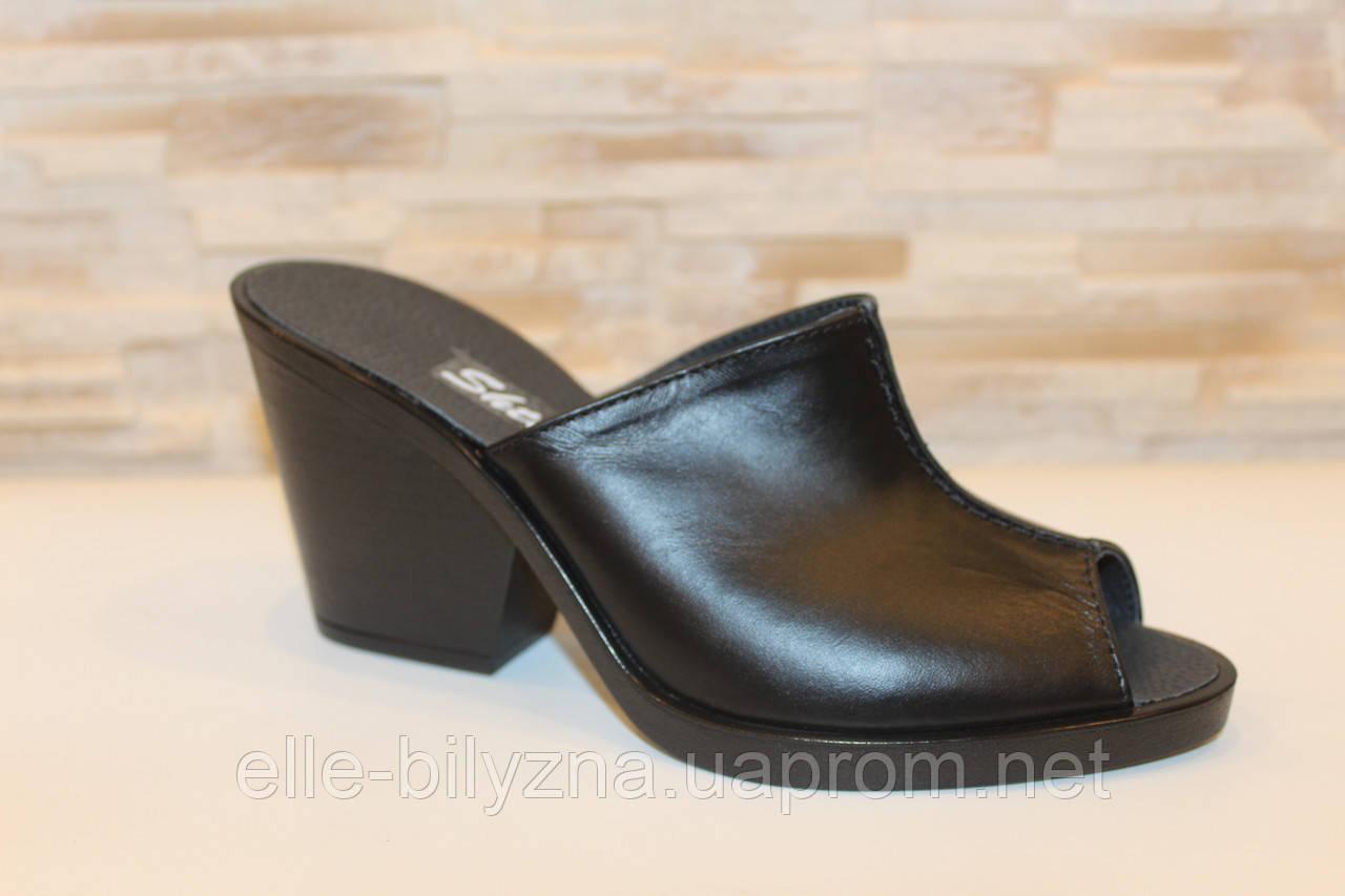 Шлепанцы сабо женские черные на каблуке натуральная кожа Б348