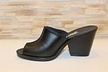 Шлепанцы сабо женские черные на каблуке натуральная кожа Б348, фото 2