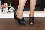Шлепанцы сабо женские черные на каблуке натуральная кожа Б348, фото 3