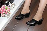 Шлепанцы сабо женские черные на каблуке натуральная кожа Б348, фото 4