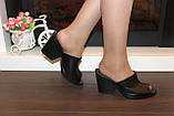 Шлепанцы сабо женские черные на каблуке натуральная кожа Б348, фото 5