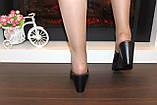 Шлепанцы сабо женские черные на каблуке натуральная кожа Б348, фото 6