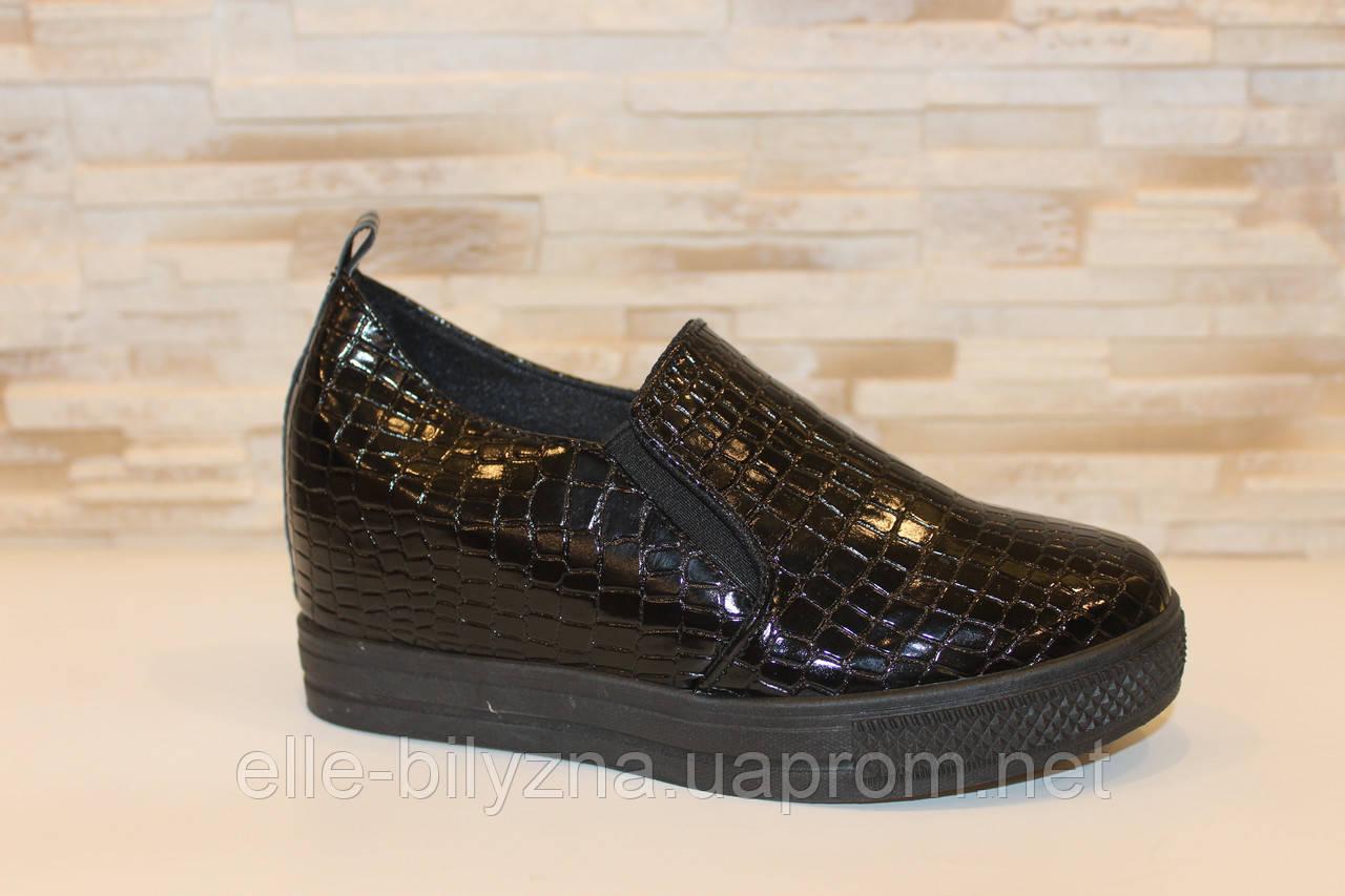 Туфли женские черные на танкетке Т055