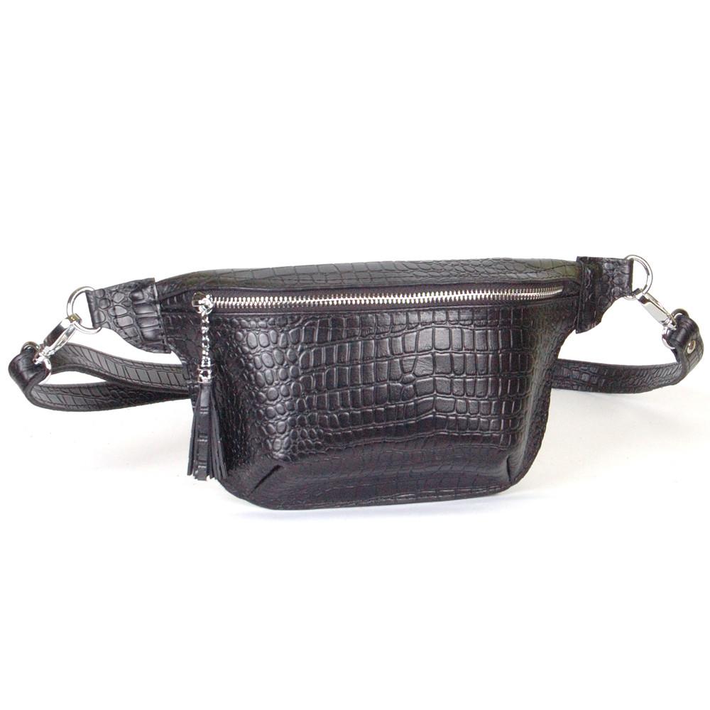 Женская поясная сумочка 01 черный кайман  01010201