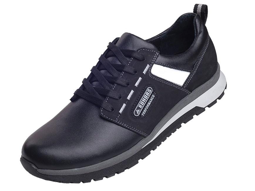 Акционные мужские кроссовки из турецкой кожи замши KONORS 8142-71-13 черный  41  скидка