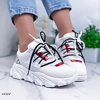 Женские кроссовки из эко-кожи, эко-замши и текстиля белые, фото 1