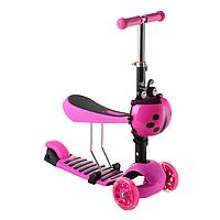 Детский cамокат 17-1 колёса PU светятся корзинка сиденье цвет розовый