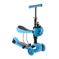 Детский cамокат 17-1 колёса PU светятся корзинка сиденье цвет синий