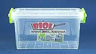 Контейнер 1,5 л харчової 212х141х105мм пластиковий прозорий прямокутний з ручками, кришкою Lux Ал-Пластик, фото 1