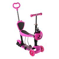 Детский самокат 18-1 колёса PU светятся родительская ручка корзинка сиденье цвет розовый