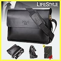 Мужская сумка через плечо Polo Videng A4 / Сумка портфель + Подарок!