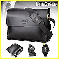 Мужская сумка через плечо Polo Videng A4 / Сумка портфель + Часы Swiss Army в Подарок, фото 1