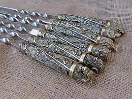 """Набір шампурів ручної роботи з бронзовими ручками """"Дикі звірі"""" в сагайдаку з натуральної шкіри"""