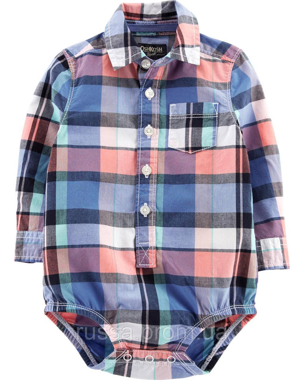 Детская клетчатая боди-рубашка с длинным рукавом ОшКош для мальчика