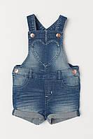 Детский джинсовый полукомбинезон шорты для девочки