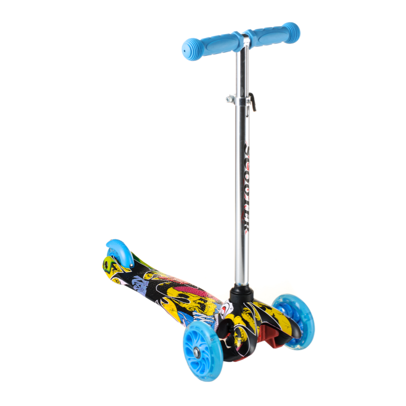 Детский самокат 906, материал пластик металл, колёса PU светятся, цвет голубой