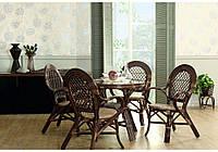 Плетенный обеденный стол 0209А натуральный ротанг + стекло D83*77 см шоколад