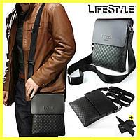 Мужская сумка через плечо Videng Polo / Кожаная мужская сумка (Клетка) + Визика-Нож в подарок, фото 1