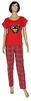 Женский домашний костюм с вышивкой, футболка и брюки 19025 Minnie коттон Красный