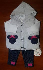 Комплект для девочки 3-ка с жилеткой на 6 месяцев