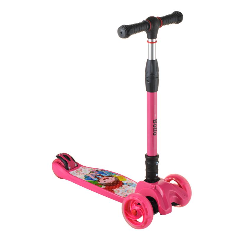 Детский самокат B01 складной руль колёса PU светятся цвет малиновый