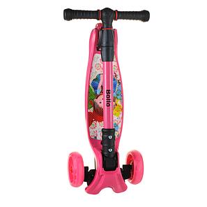 Детский самокат B01 складной руль колёса PU светятся цвет малиновый, фото 2
