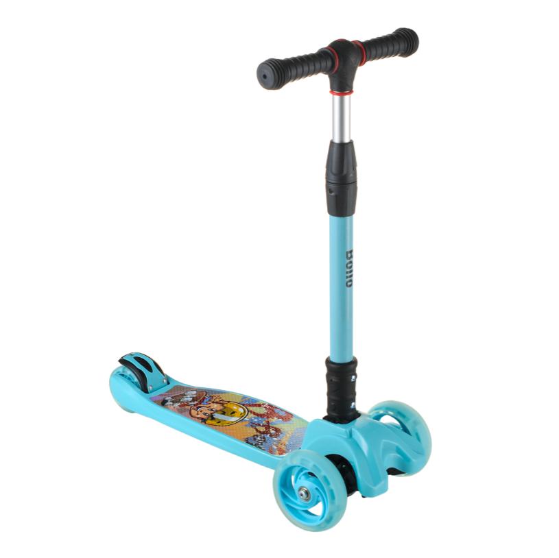 Детский самокат B01 складной руль колёса PU светятся цвет синий