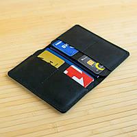 Обложка на два паспорта из натуральной кожи Traveler черный